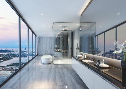 1000 Museum - Bathroom, 53rd Floor Unit. Image © Zaha Hadid Architects