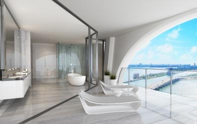 1000 Museum -Bathroom. Image © Zaha Hadid Architects