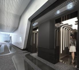 1000 Museum -Elevator Lobby. Image © Zaha Hadid Architects