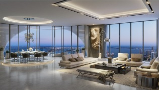 1000 Museum -Living Room, 15th Floor Unit. Image © Zaha Hadid Architects